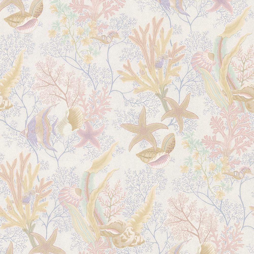 Percival White Ocean Scenic Wallpaper Sample