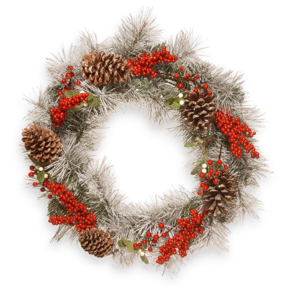 24 in. Snowy Pine Artificial Wreath