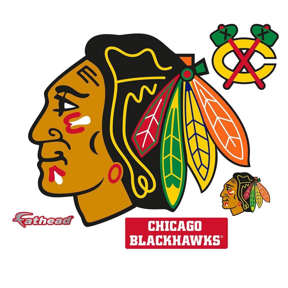 38 in. H x 45 in. W Chicago Blackhawks Logo Wall Mural
