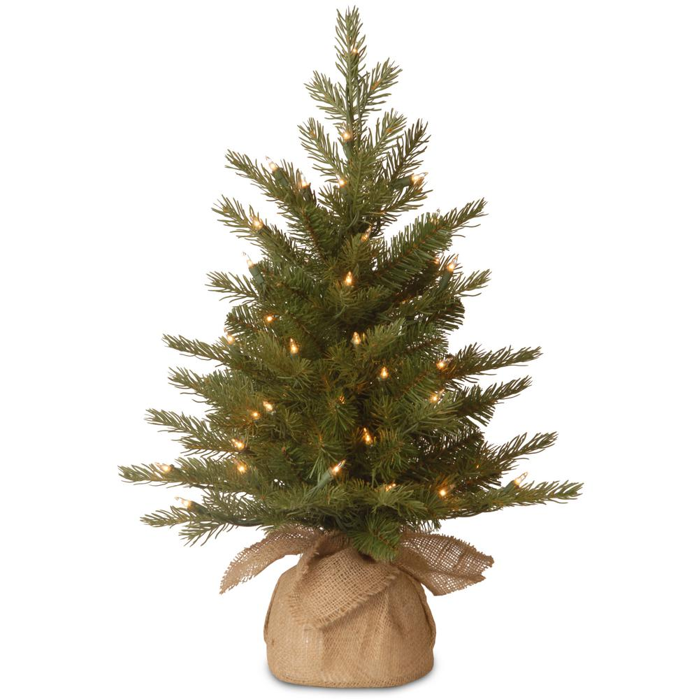 National Tree Company 24 in. Feel-Real Nordic Spruce Tree with Clear Lights