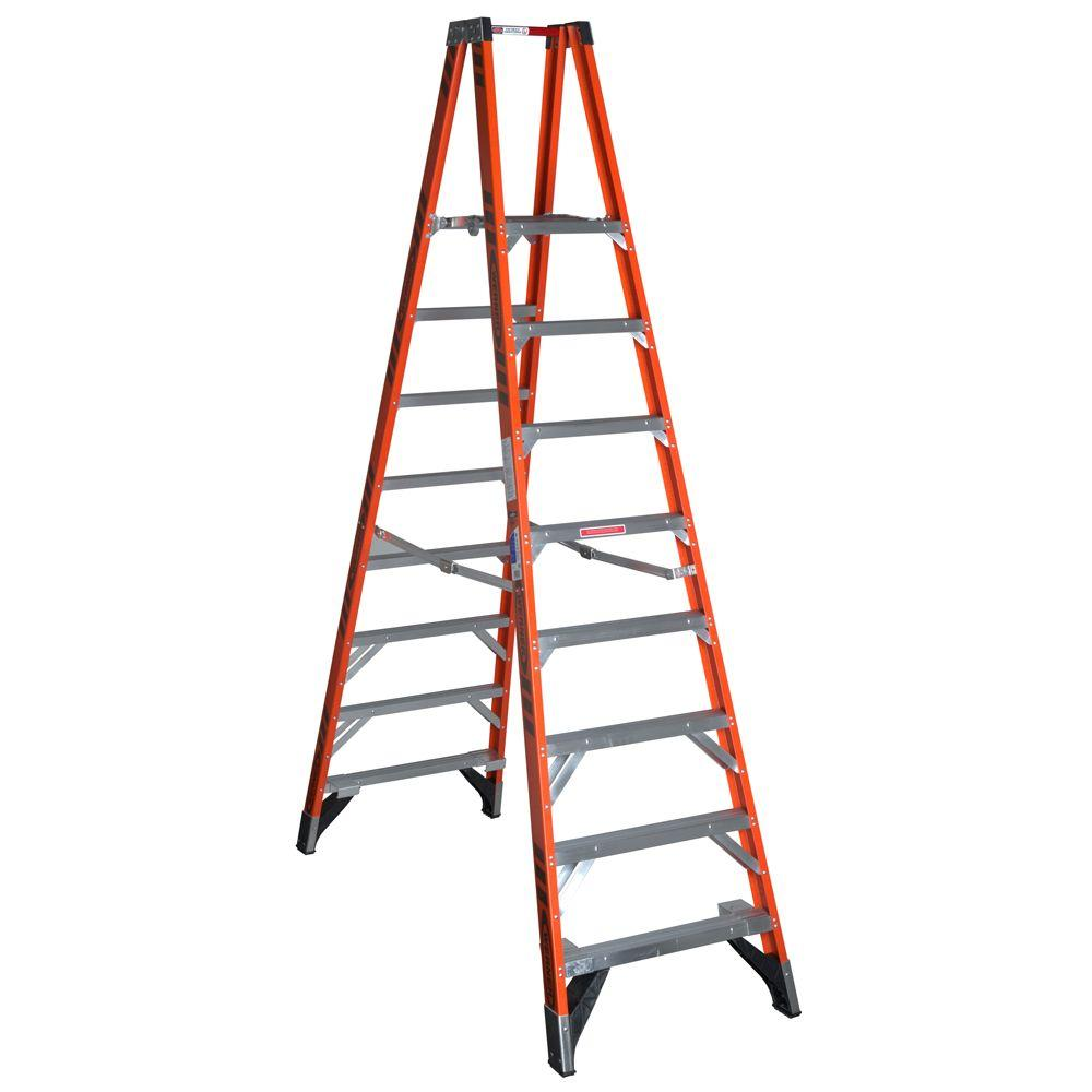 Werner 16 ft. Reach Fiberglass Platform Twin Step Ladder with 300 lb. Load Capacity Type IA Duty Rating