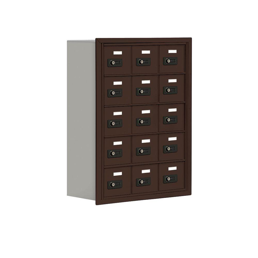 19000 Series 24 in. W x 31 in. H x 8.75 in. D 15 A Doors R-Mount Resettable Locks Cell Phone Locker in Bronze