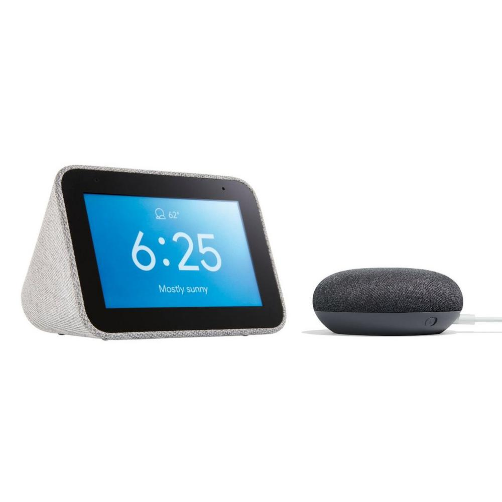 Google Smart Clock with The Google Assistant + Google Home Mini in Charcoal
