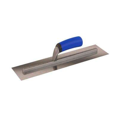 16 in. x 4 in. Finishing Trowel Carbon Steel Long-Shank Square End with Comfort Grip Handle