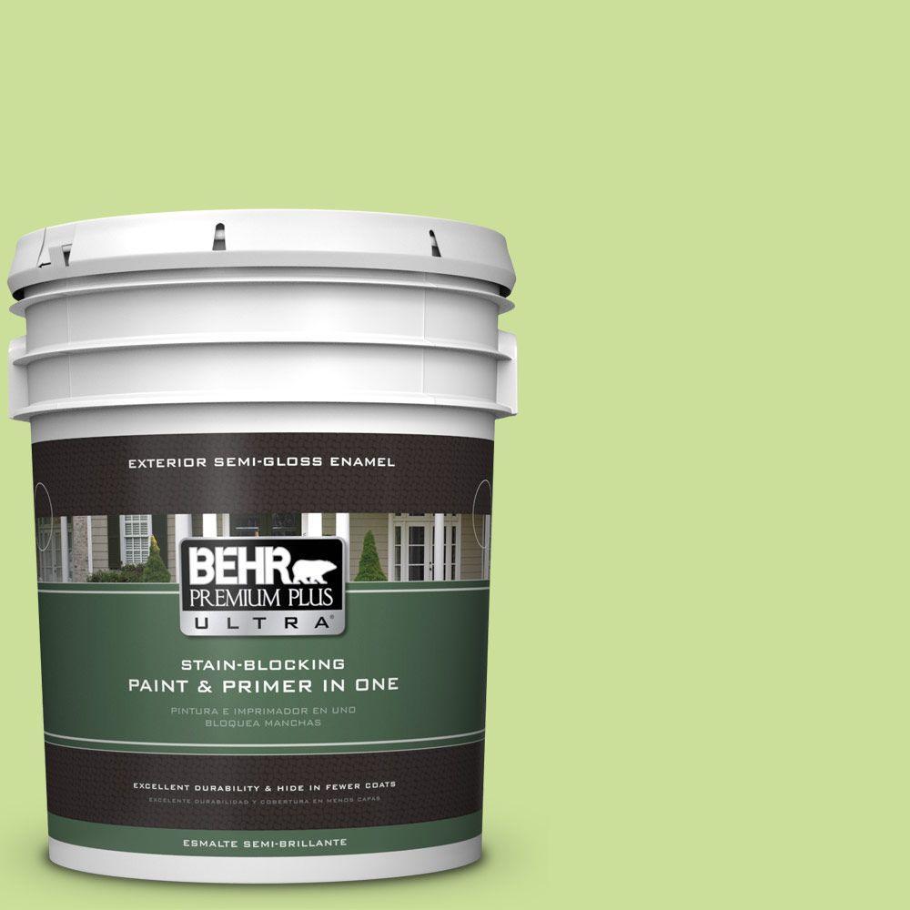 BEHR Premium Plus Ultra 5-gal. #420A-3 Key Lime Semi-Gloss Enamel Exterior Paint
