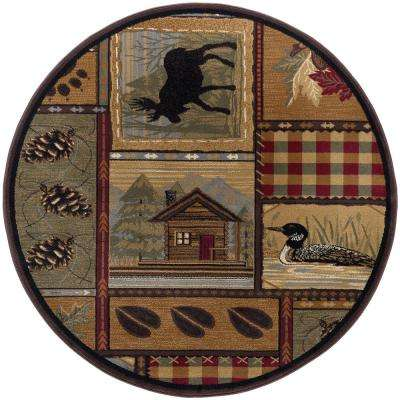 Nature Brown 7 ft. 10 in. x 7 ft. 10 in. Round Area Rug