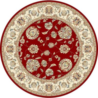 Judith Red/Ivory 5 ft. x 5 ft. Round Indoor Area Rug