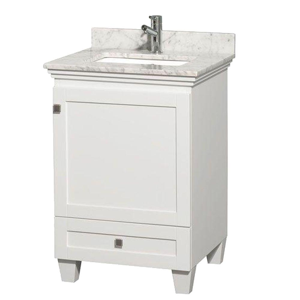 Wyndham Collection Acclaim 24 in. Vanity in White with Marble Vanity Top in Carrara White and Square Sink