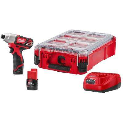 M12 12-Volt Lithium-Ion 1/4 in. Cordless Impact Driver Kit with Packout Case Two 1.5 Ah Batteries and Charger