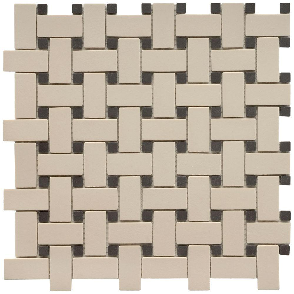 Merola Tile Old World Basket Weave Antique Whiteand\Black 12 in. x 12 in. Unglazed Porcelain Mosaic Floor and Wall Tile-DISCONTINUED