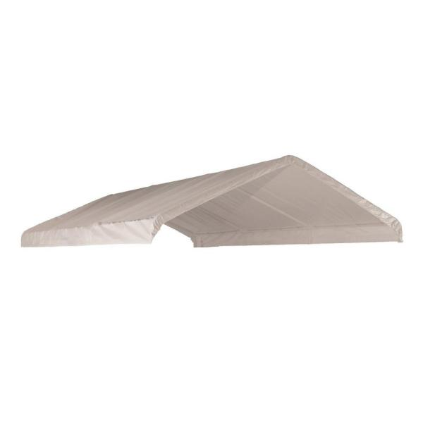12 ft. W x 20 ft. H Canopy Replacement Cover in White (Fits 2 in. Frame) with Patented Twist-Tie Tension Feature