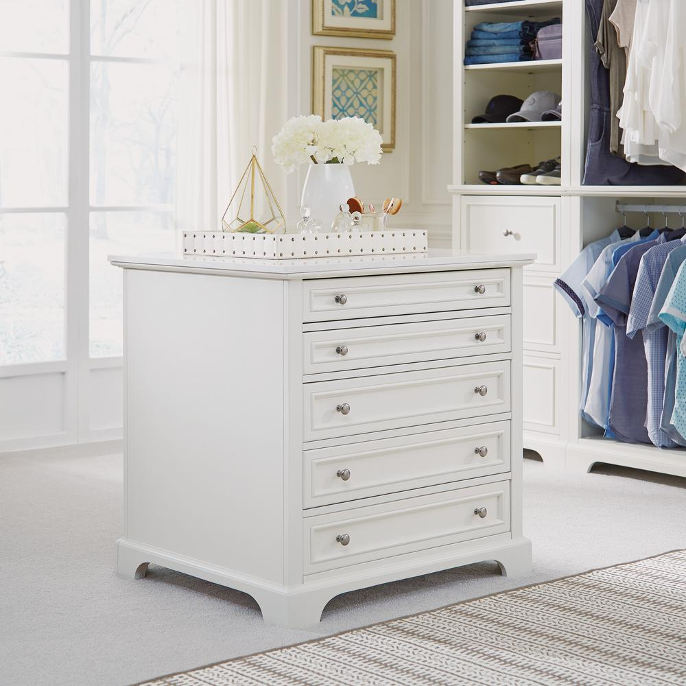 Home Styles Naples 5 Drawer White Closet Island