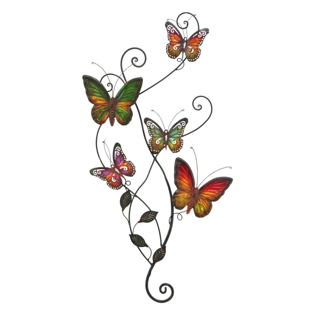 Benzara Colorful Butterflies Metal Work Wall Decor Bm00028 The