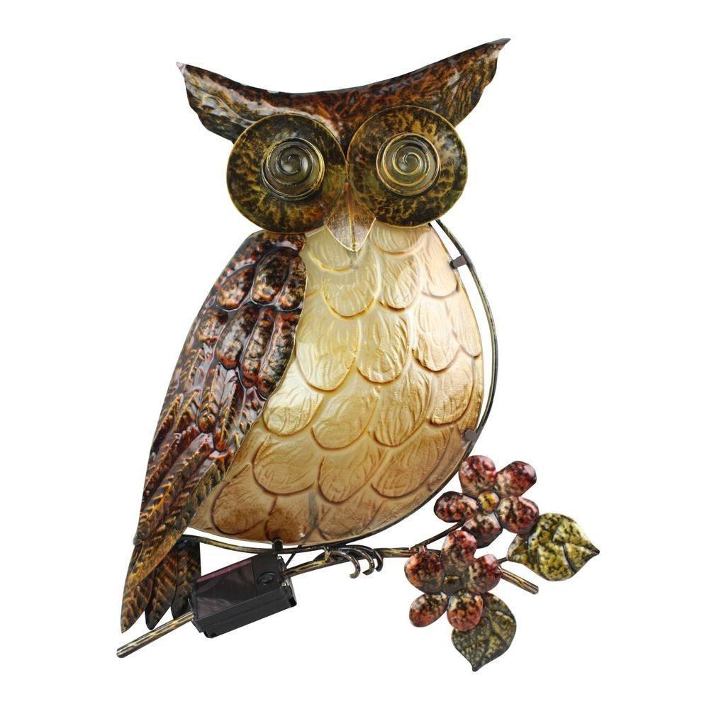 Moonrays Solar Powered Integrated LED Owl Wall Art Outdoor Patio Light