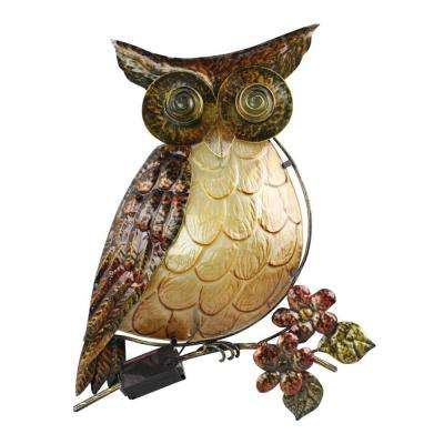 Solar Powered Integrated LED Owl Wall Art Outdoor Patio Light