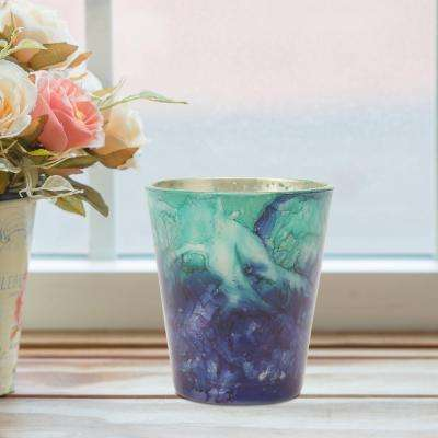 3 in. Blue Glass Votive Candle Holder