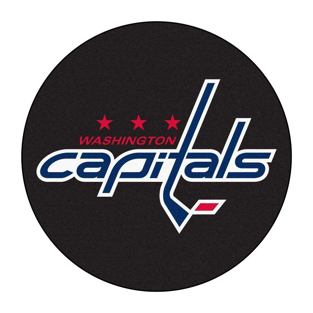 Fanmats Washington Capitals Black 2 Ft X 2 Ft Round Area Rug 10561