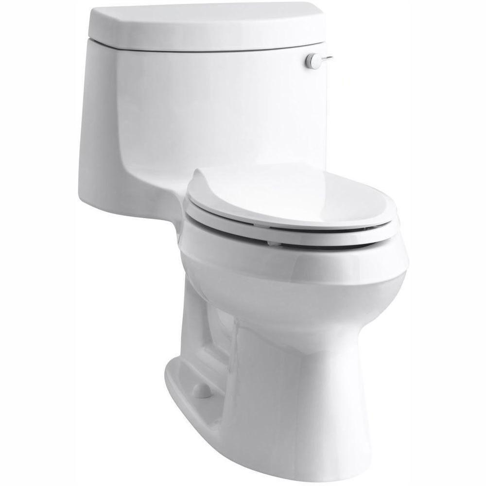 Kohler Cimarron 1 Piece 1 28 Gpf Single Flush Elongated Toilet With Aquapiston Flush Technology In White Seat Included K 3828 Ra 0 The Home Depot