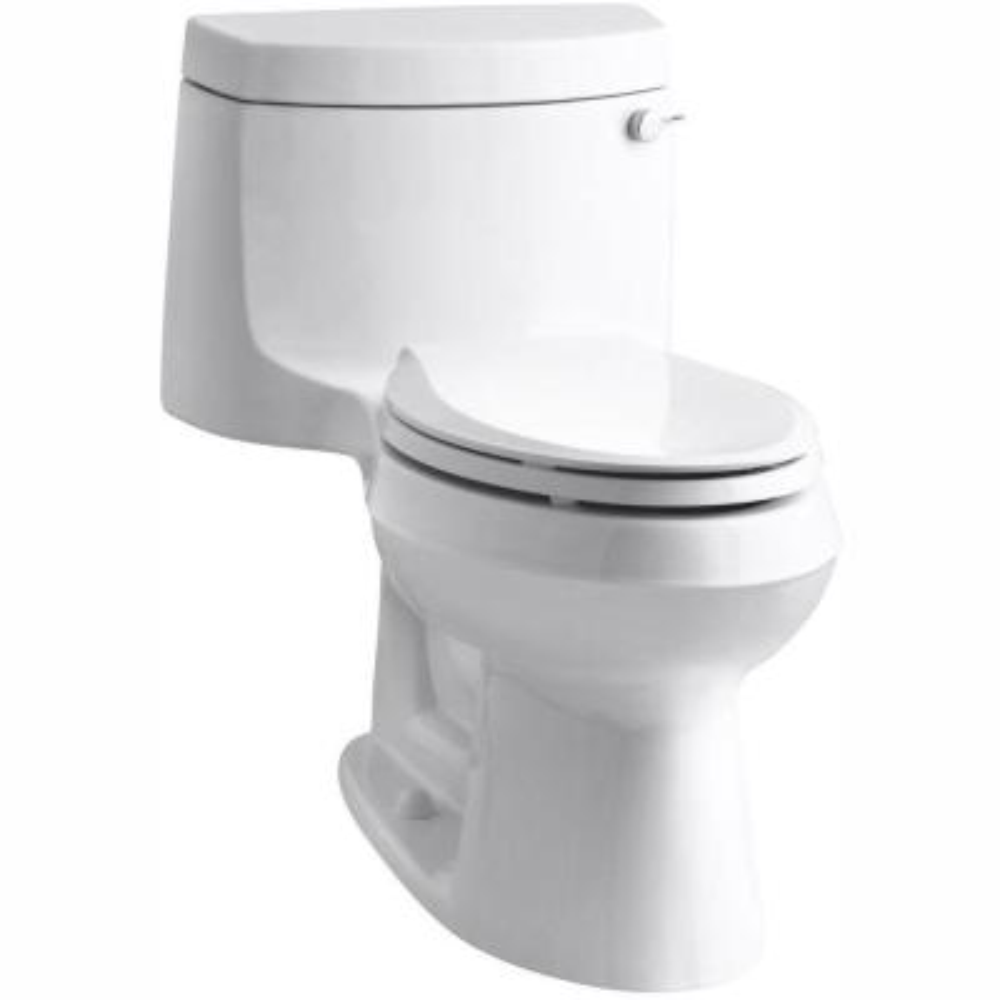 Cimarron 1-Piece 1.28 GPF Single Flush Elongated Toilet with AquaPiston Flush Technology in White, Seat Included
