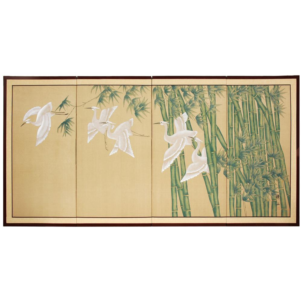 "24 in. x 48 in. ""Bamboo Escape Silk Screen"" Wall Art"