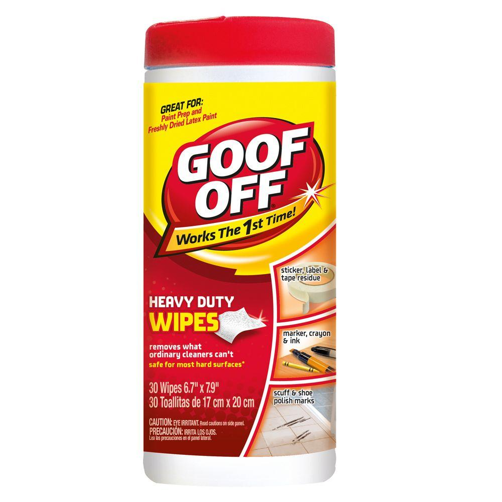 Goof Off 6.7 in. x 7.9 in. Heavy Duty Wipes (30-Count)
