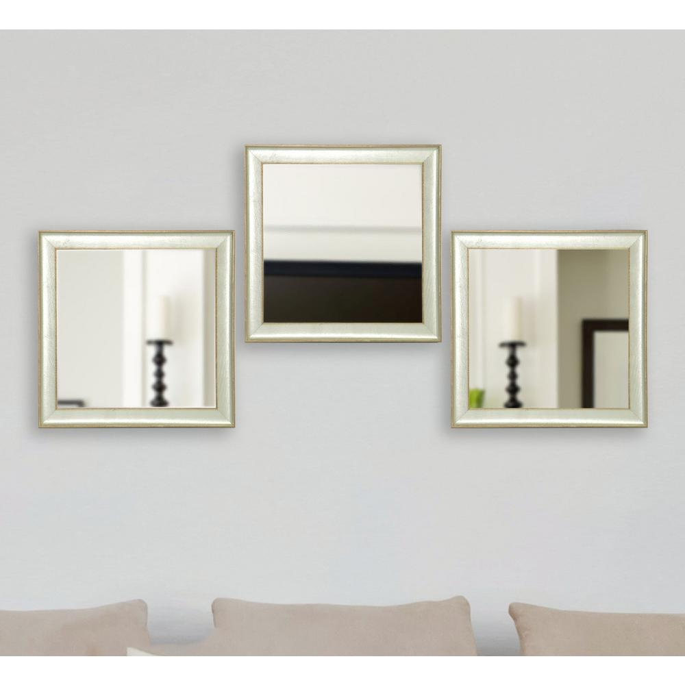 19 5 In X Vintage Silver Square Wall Mirrors Set
