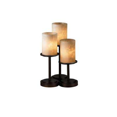 Clouds Dakota 3-Light 16 in. Dark Bronze Table Lamp with Clouds Shade
