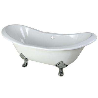6 ft. Cast Iron Polished Chrome Claw Foot Double Slipper Tub in White