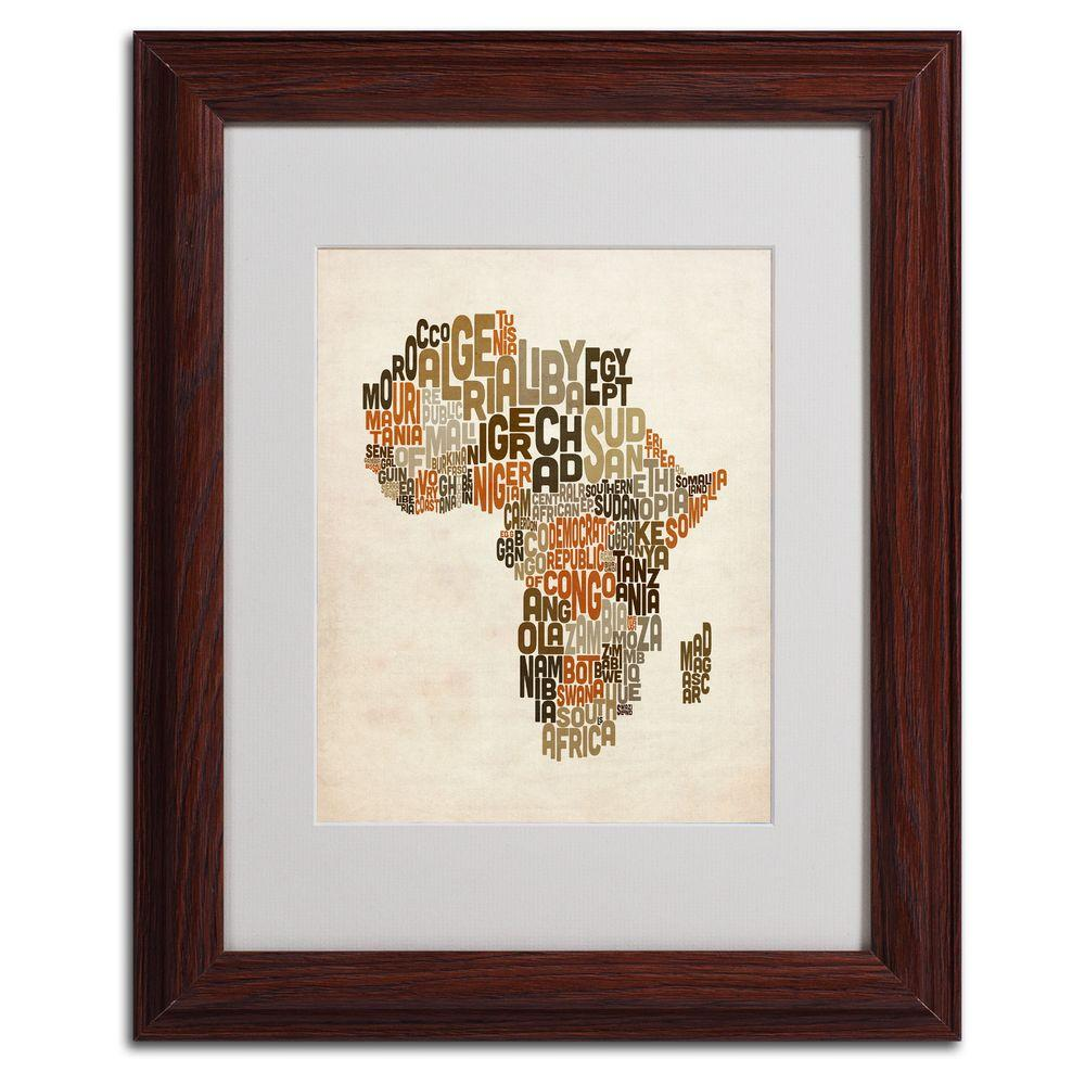 Trademark Fine Art 11 in. x 14 in. Africa Text Map Matted Framed Art