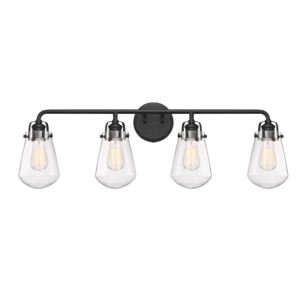Elliott 4-Light Matte Black Bath Bar Vanity Light
