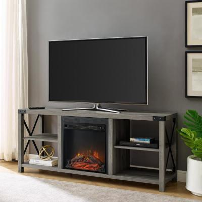 60 in. Grey Wash Composite TV Stand Fits TVs Up to 65 in. with Electric Fireplace