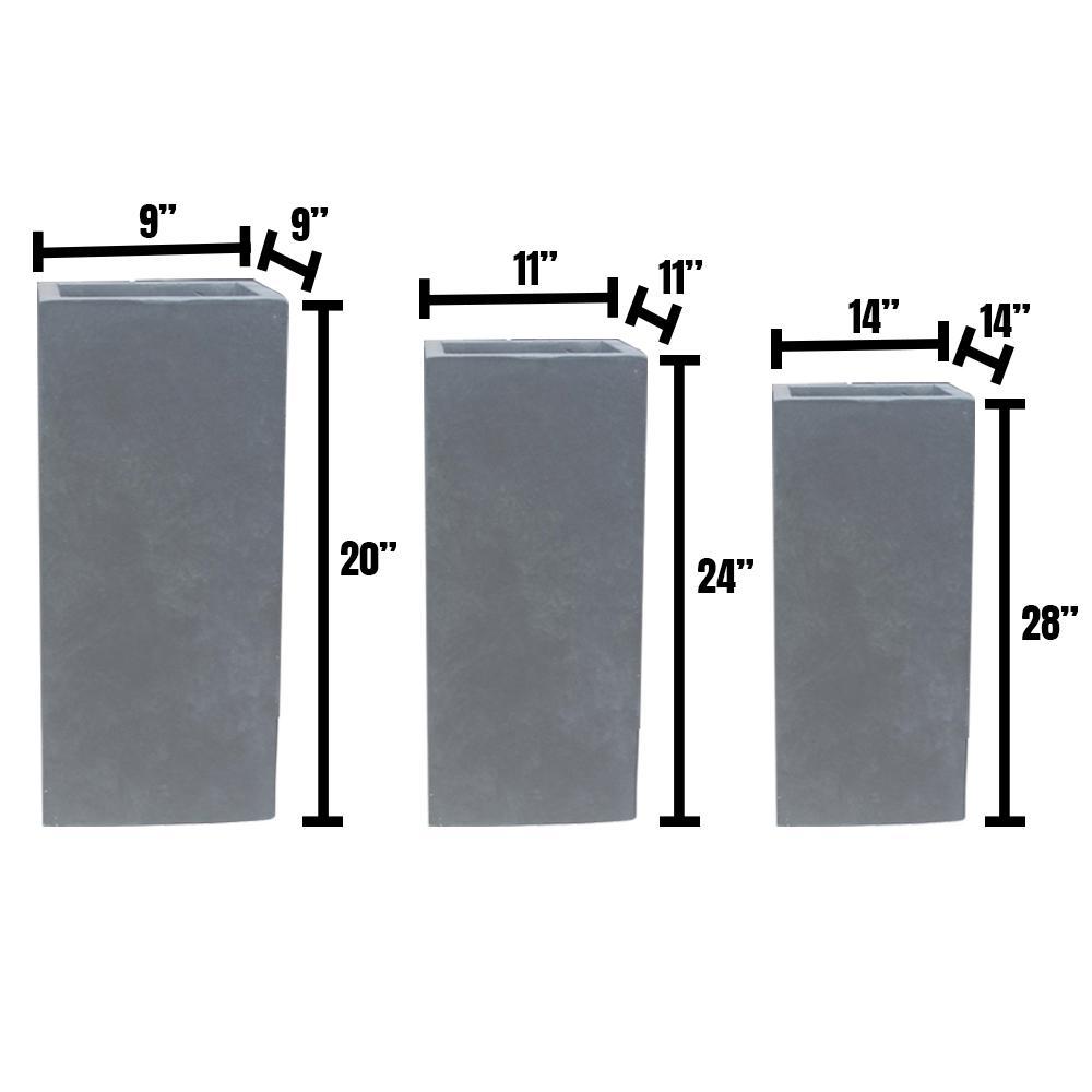 DurX-litecrete Lightweight Concrete Tall Light Granite Planter (Set of 3)