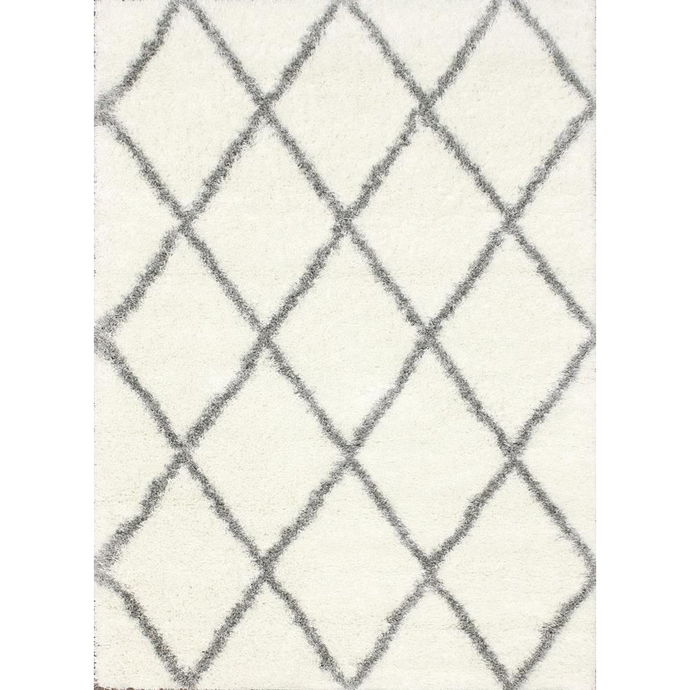 Nuloom Diamond Shag Grey 4 Ft X 6 Ft Area Rug Ozsg09a
