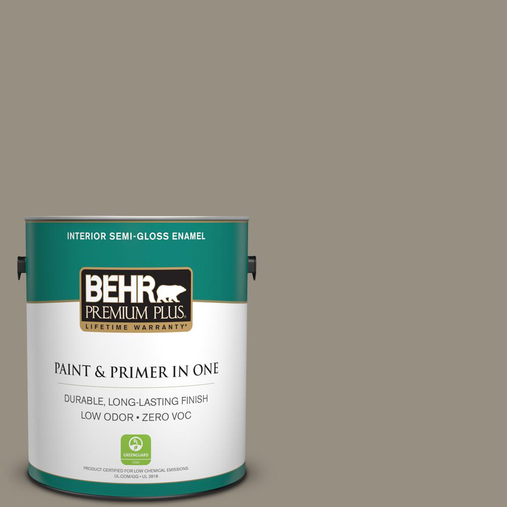 BEHR Premium Plus 1-gal. #N320-5 Gray Squirrel Semi-Gloss Enamel Interior Paint