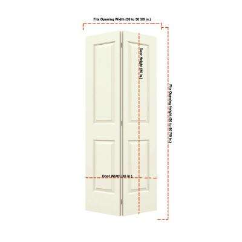 36 in. x 80 in. Cambridge Vanilla Painted Smooth Molded Composite MDF Closet Bi-fold Door