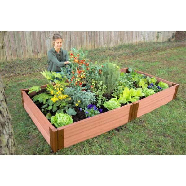 Frame It All Two Inch Series 4 Ft X 8 Ft X 11 In Classic Sienna Composite Raised Garden Bed Kit 300001091 The Home Depot
