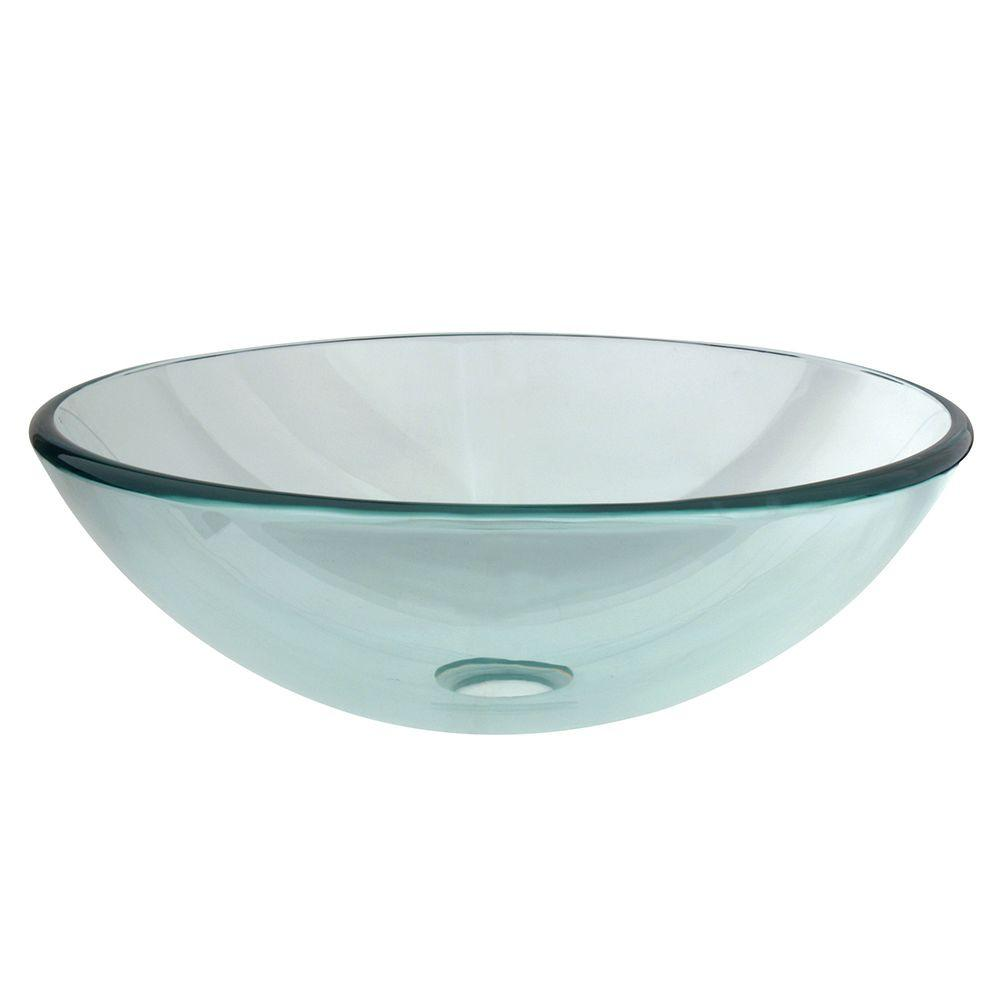 Round Glass Vessel Sink In Clear