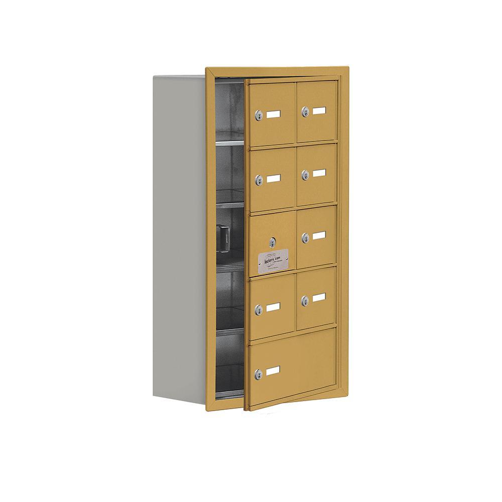 19100 Series 16.25 in. W x 29.75 in. H x 8.75 in. D 8 Doors Cell Phone Locker Recess Mount Keyed Lock in Gold
