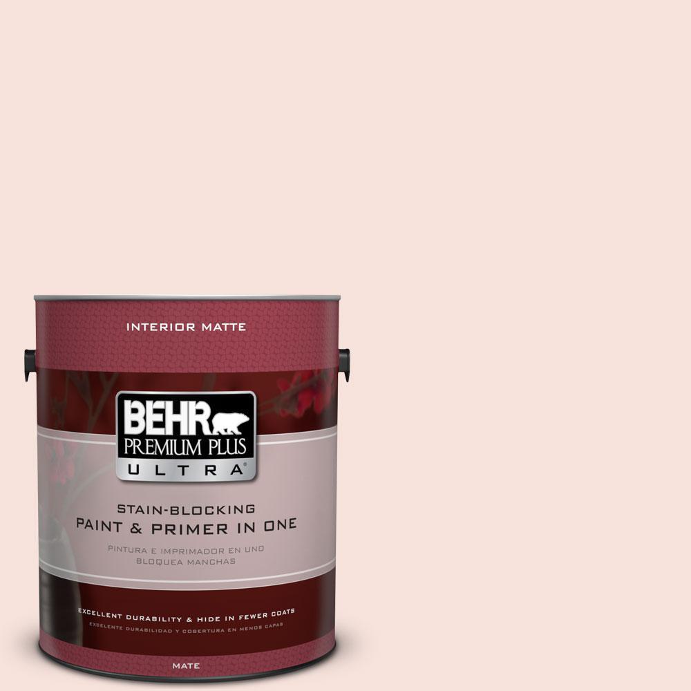 BEHR Premium Plus Ultra 1 gal. #210C-1 Angel Blush Matte Interior Paint and Primer in One