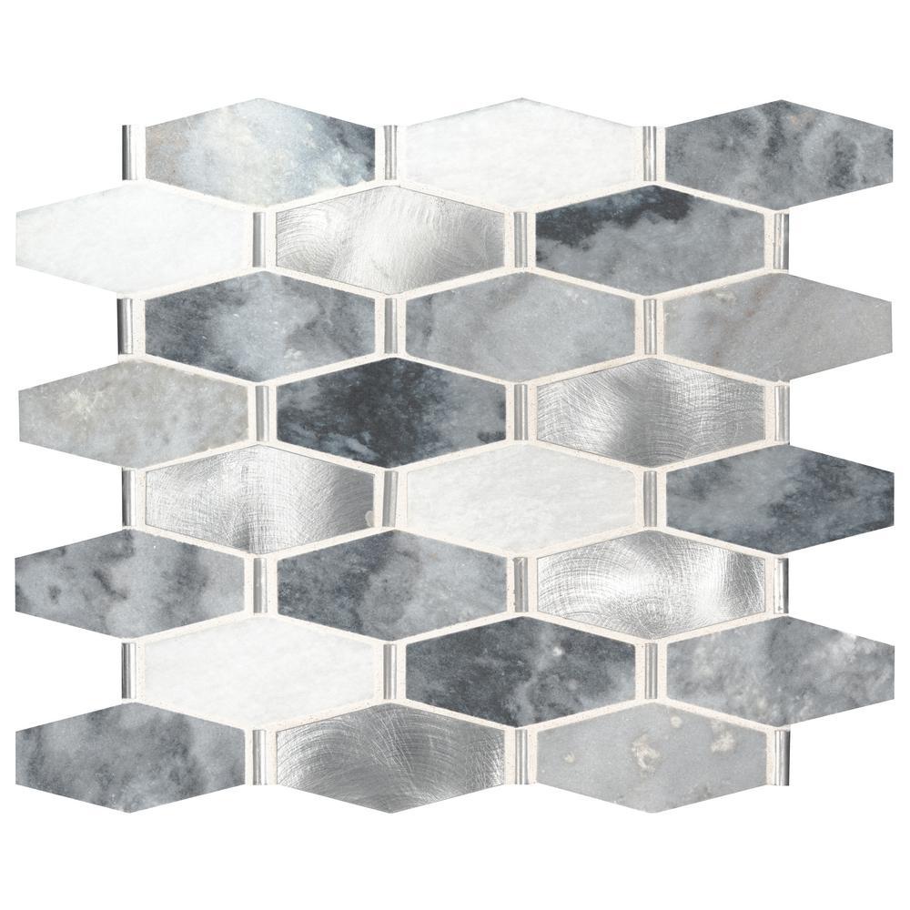 MSI Ankara 13 in. x 11.61 in. x 6mm Stone Metal Mesh-Mounted Mosaic Tile (15.75 sq. ft. / case)