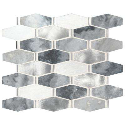Ankara 13 in. x 11.61 in. x 6mm Stone Metal Mesh-Mounted Mosaic Tile (15.75 sq. ft. / case)