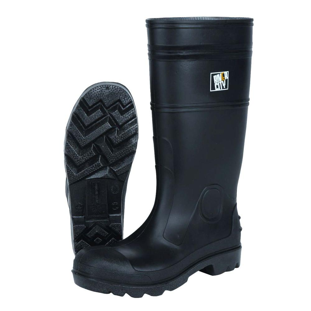 MSA Safety Works Size 10 Black PVC 100% Waterproof Cleated Sole Boots
