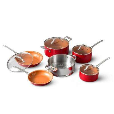 10-Piece Red Non-Stick Ti-Ceramic Round Cookware Set with Lids