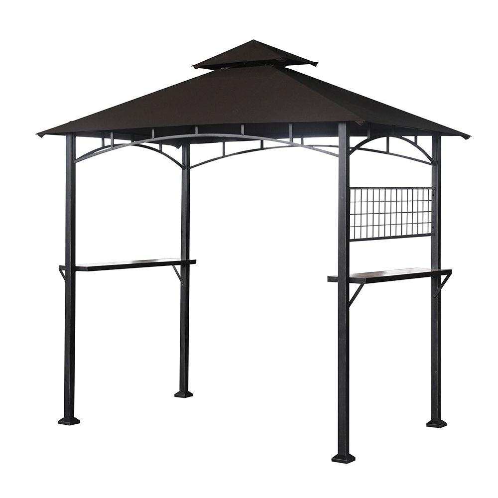 Sunjoy Calais 8 ft. x 5 ft. x 8 ft. Steel Tile Fabric Grill Gazebo