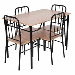 Costway 5-Piece Dining Set Metal Wood Modern Table And 4 ...