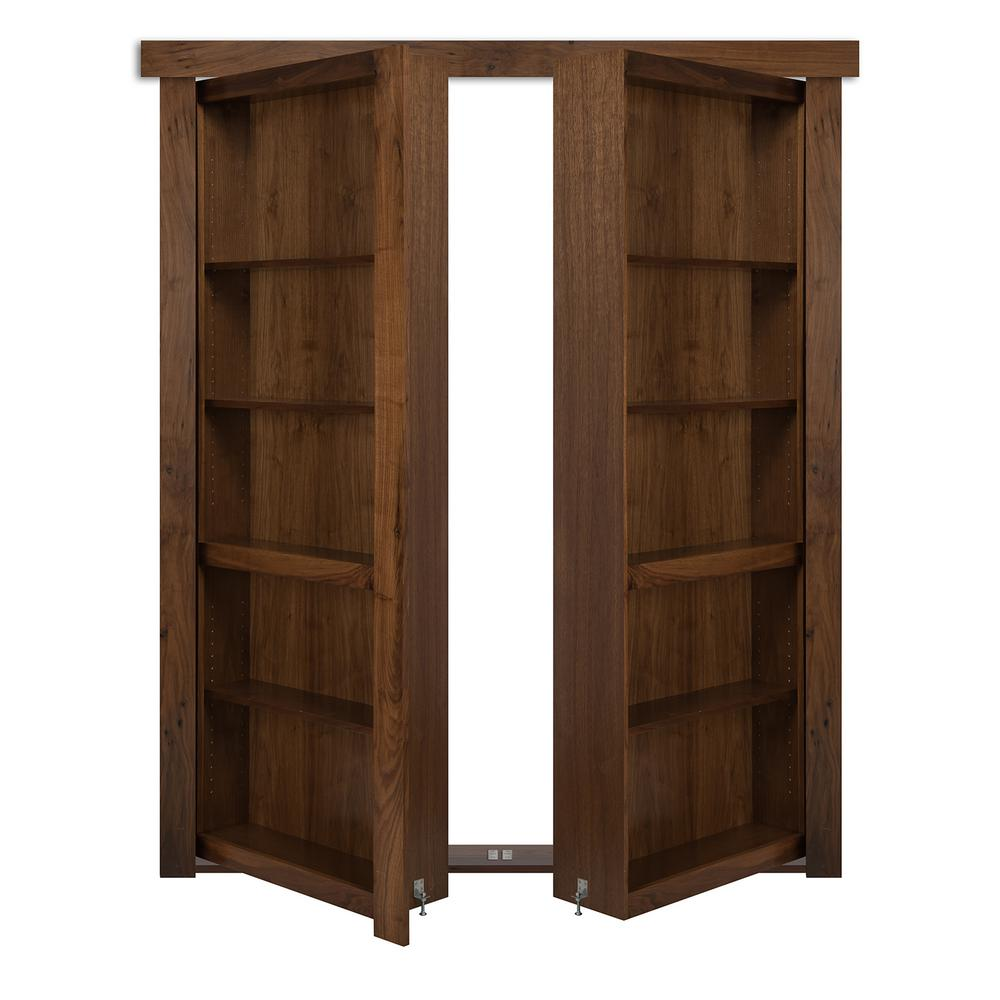 The Murphy Door 72 in. x 80 in. Flush Mount Assembled Walnut Medium Stained Out-Swing Solid Core Interior French Bookcase Door