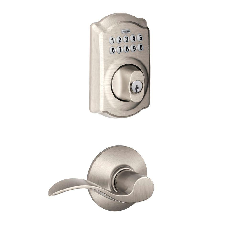 Schlage Camelot Satin Nickel Electronic Door Lock Deadbolt With Accent Door Lever Fbe365 V Cam 619 Acc The Home Depot