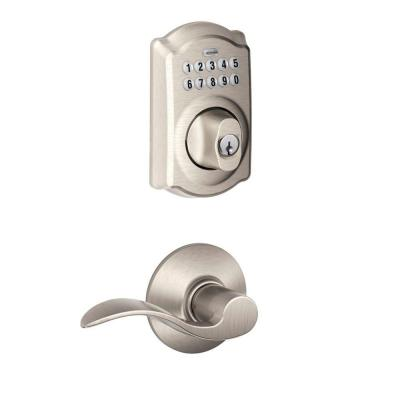 Camelot Satin Nickel Electronic Door Lock Deadbolt with Accent Door Lever