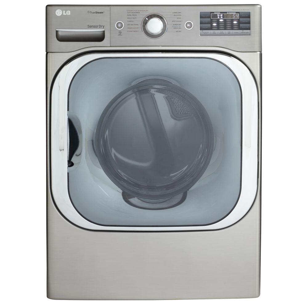 LG Electronics 9.0 cu. ft. Gas Dryer with Steam in Graphite Steel
