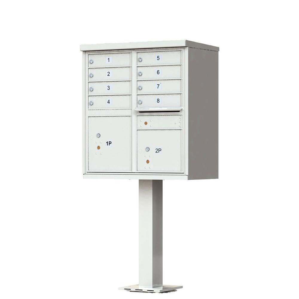8-Mailboxes 2-Parcel Lockers 1-Outgoing Mail Compartment Pedestal Mount Cluster Box Unit